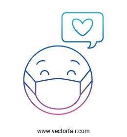 emoticon with medical mask and heart bubble degraded line style icon vector design