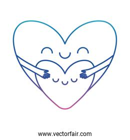 Heart cartoon hugging other degraded line style icon vector design