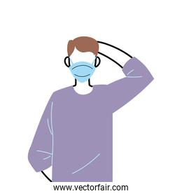 young man wearing face mask to prevent virus