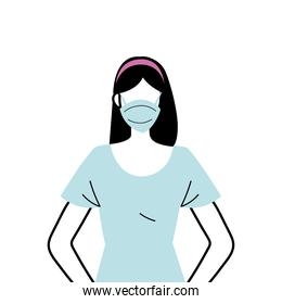 young woman wearing face mask to prevent virus