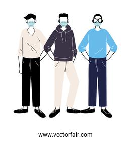 young men with medical masks standing on white background