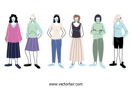 young women with medical mask standing on white background