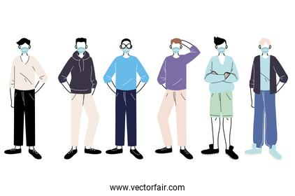 young men with medical mask standing on white background