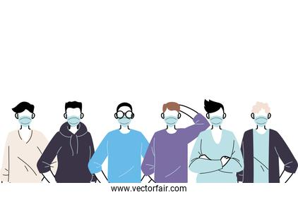 young men wearing face mask to prevent virus
