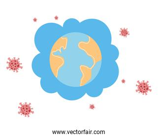 planet earth in pandemic on white background