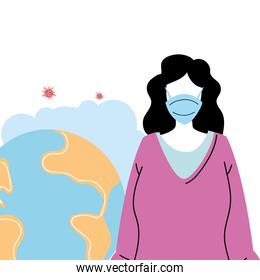 young woman with mask to prevent pandemic covid19