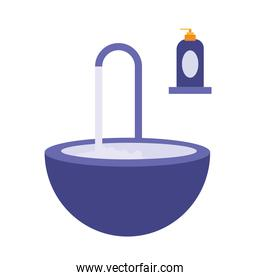 Water tap and hand sanitizer bottle vector design