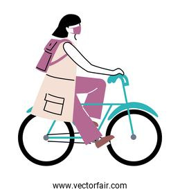 young woman with mask riding bicycle