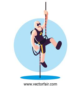 strong man climbing up the rope