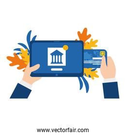 tablet with bank and credit card vector design