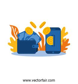 wallet with bills coins and smartphone vector design