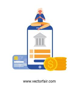 woman avatar with smartphone and bank vector design