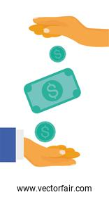 Hands with coins and bill vector design