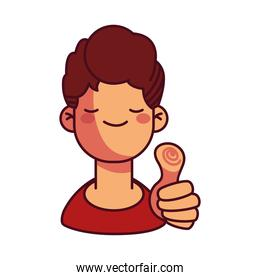 Cartoon boy smiling and holding thumb up