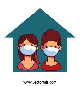 girl and boy with masks at home