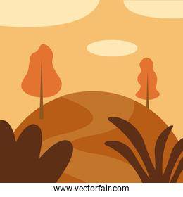 landscape of trees on mountain vector design
