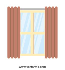 Isolated window with curtains vector design