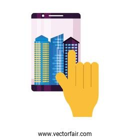 Hand touching smartphone with city buildings vector design