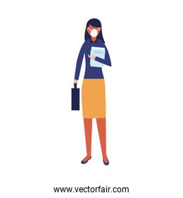 Woman with medical mask and document vector design
