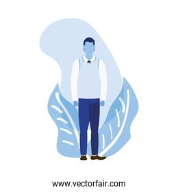Isolated businessman avatar with leaves vector design