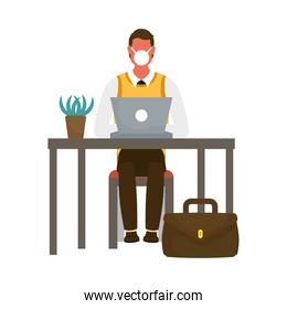 Man with medical mask on desk with laptop vector design