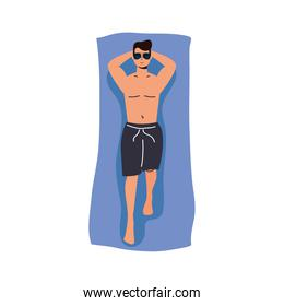 Boy cartoon with male short and glasses on towel vector design
