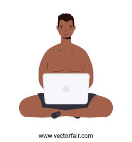 Boy cartoon with male short with laptop vector design