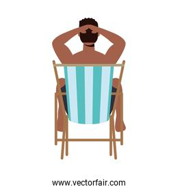 Boy cartoon on sunchair vector design
