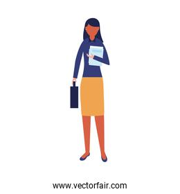 Isolated businesswoman avatar with document vector design