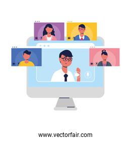 Man avatar on laptop and people in video chat vector design