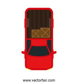 pickup car with boxes vehicle top view vector design