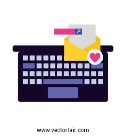 Laptop envelope with heart and search button vector design