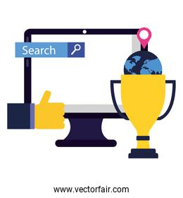 computer trophy and like vector design