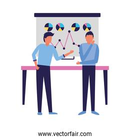 Corporate businessmen with board and table vector design