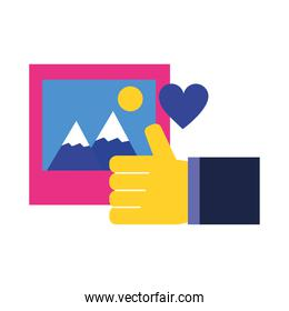 picture like and heart vector design