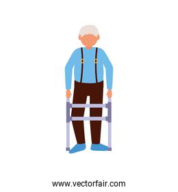 Grandfather avatar old man with walker vector design