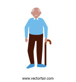 Grandfather avatar old man with stick vector design
