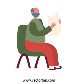 Grandfather avatar old man on chair with newspaper vector design