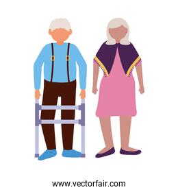 Grandmother and grandfather avatar vector design