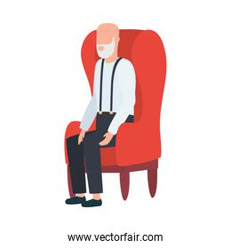 Grandfather avatar old man on chair vector design