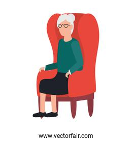 Grandmother avatar old woman on chair vector design