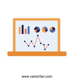 Isolated infographic on laptop vector design