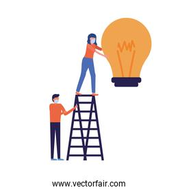 Woman and man with mask and light bulb on ladder isolated