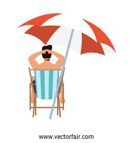boy cartoon on sunchair with umbrella vector design