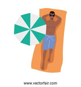 boy cartoon with short and glasses on towel vector design