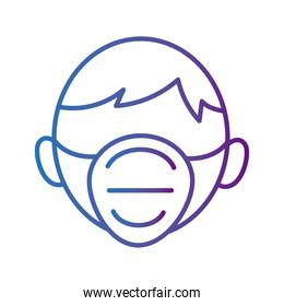 man wearign medical mask respiratory accessory line style icon