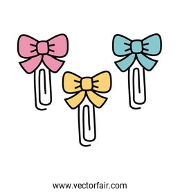 paper clips with bowties decoratives line style