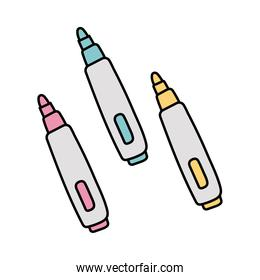 markers school supplies free form style icons