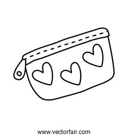 pencils case with hearts line style icon