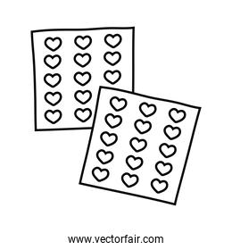 set of hearts stickers line style icons